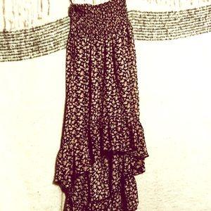 Strapless floral hi low dress